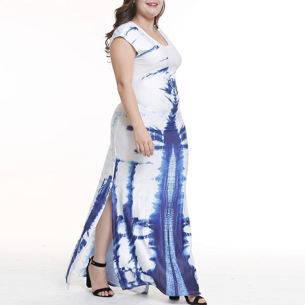 Sexy Fashion Loose Plus Size Printed Colour Maxi Dress