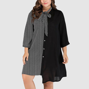 Fashion Loose Contrast Plus Size Stripe Splice Round Neck Dress