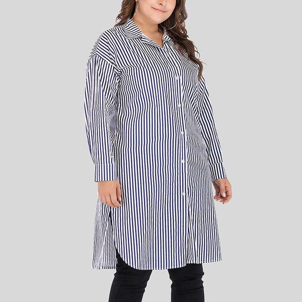 Fashion Loose Plus Size Stripe Long Sleeve Blouse