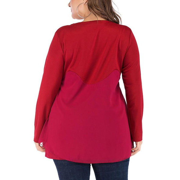 Fashion Loose Plus Size Splice Printed Colour Long Sleeve T-Shirt