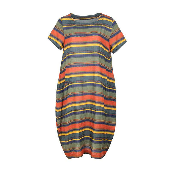 Fashion Loose Plus Size Stripe Stripe Short Sleeve Dress