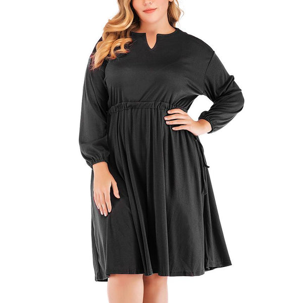 Fashion Loose Plus Size V Neck Pure Coloure Casual Dress