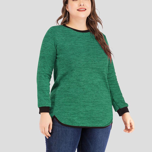 Fashion Loose Plus Size Pure Colour Round Neck Casual T-Shirt
