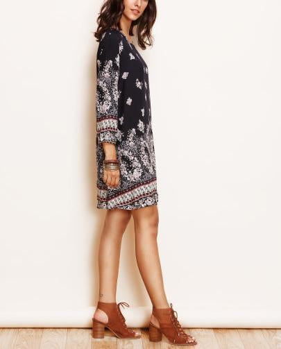 Casual Loose Plus Size   National Style Printing Mini Dress