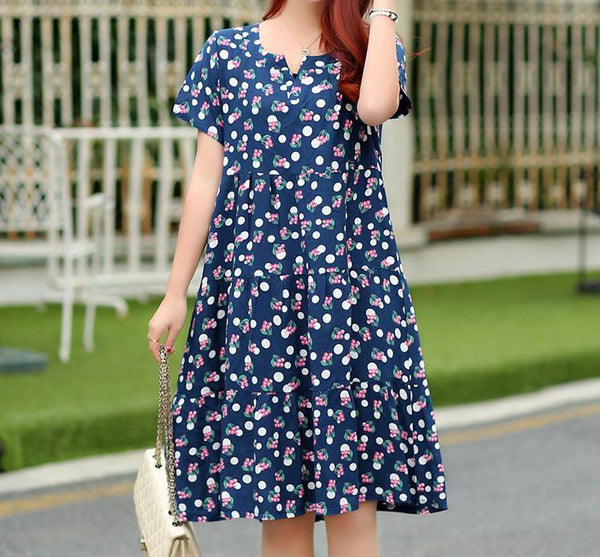 Casual Loose Plus Size  Short Sleeve Floral Print Maxi Dresses Polka Dot