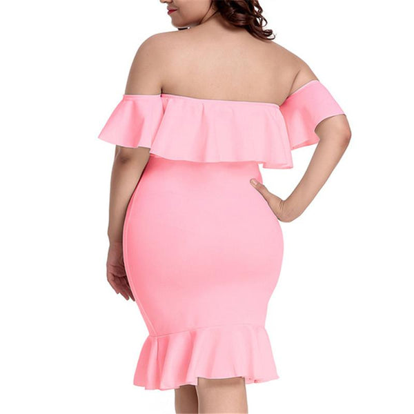 Plus-Size Sexy One-Shoulder Lotus Frock Dress