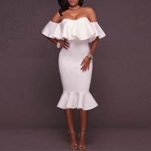 Sexy One-Shoulder Lotus Frock Dress