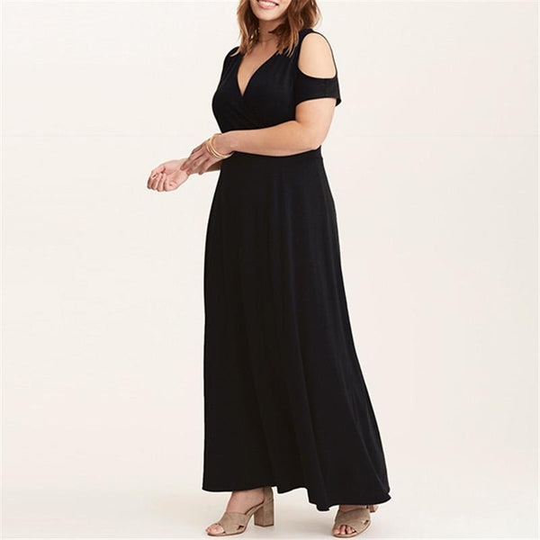 Plus-Size Sexy V-Collar Shoulder-Exposed Dress