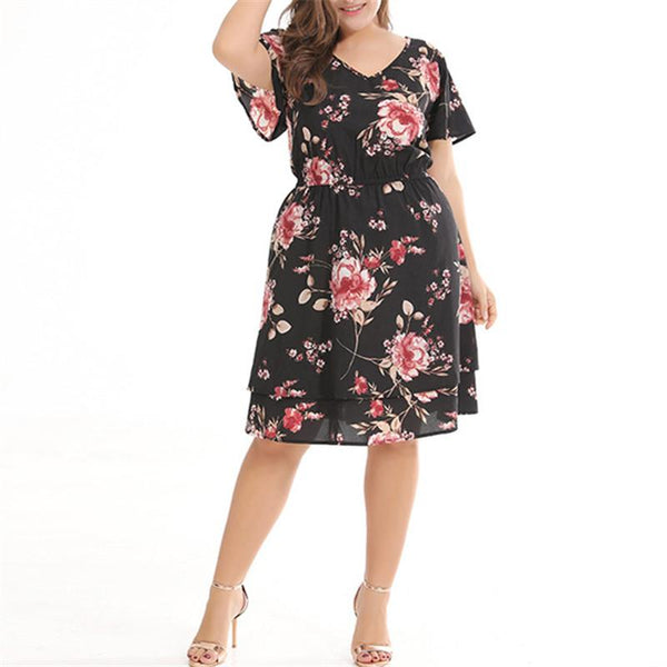 Plus-Size Sexy V-Collar Short Sleeve Dress