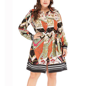 Casual Plus Loose Size   Printing Shirt Mini Dress