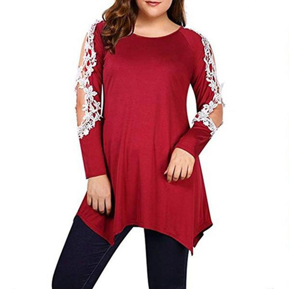 Plus-Size Off-The-Shoulder Lace Patchwork Long-Sleeved T-Shirt
