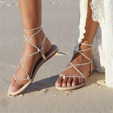 Fashion Pin Toe Personality Chain Wild Sandals