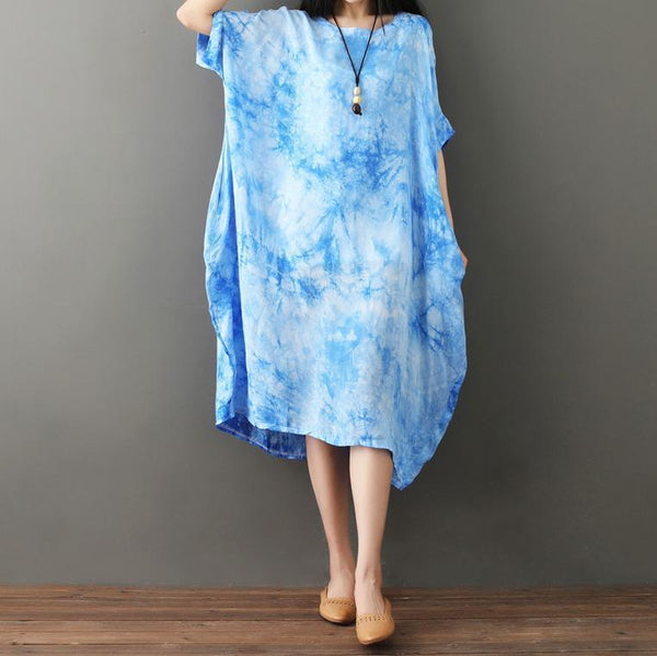 Casual Loose Plus Size   National Style Tie Dyed Maxi Dresses