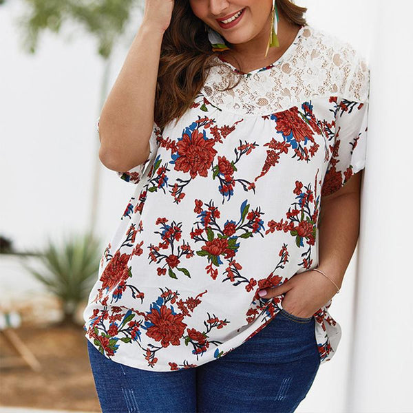 Women's Lace Splice Printing Short-Sleeved Snow Spinning Shirt