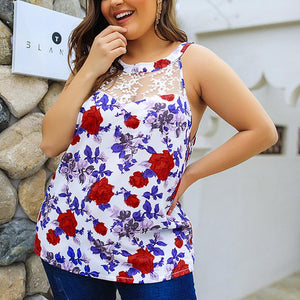 Women's Shoulder Print Large-Size Sleeveless Lacey Shirts