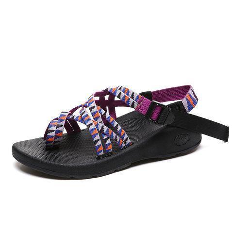 Fashion Colorful Braid Cross Strap  Flat Sandal