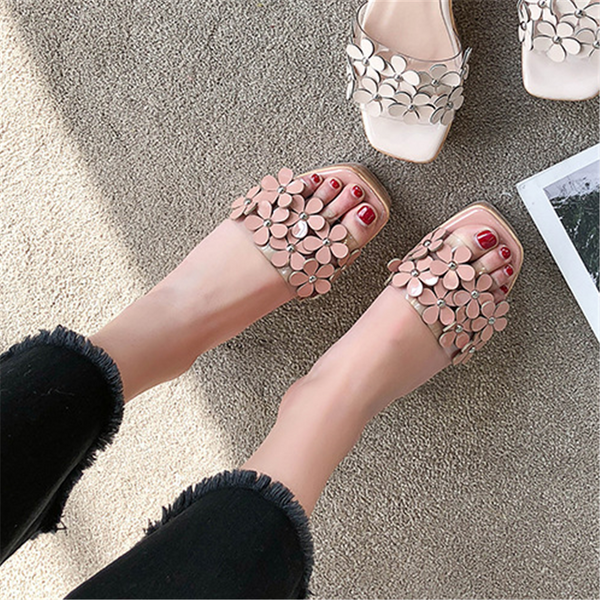 Fashion Sweet   Flower Wedge Slipper