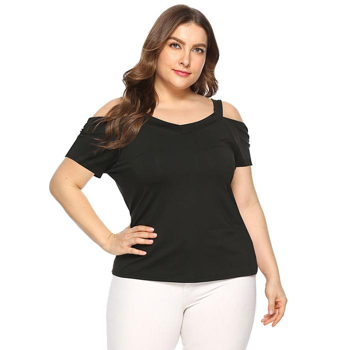 Plus Size Womens Off-Shoulder Short Sleeve T-Shirt Casual Tops