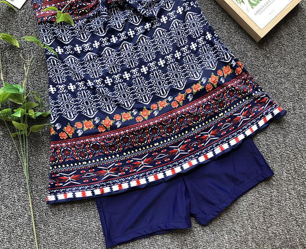 Female European And American Large Size Printed Skirt Swimsuit
