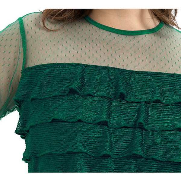Plus Size Perspective Lace Splice Pleated T-Shirt Tops