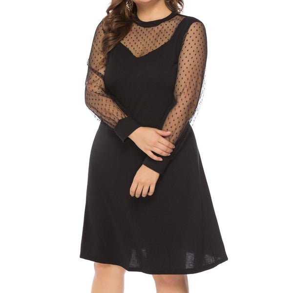 Female Sexy Lace Splicing Wave Dot Gauze Black Large Mini Dress
