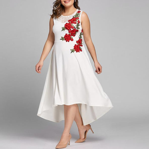 Plus Size Floral Applique Splice Lace Sleeveless Irregular Long Dress