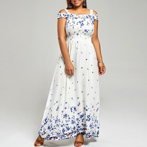 Plus Size Summer Boho Floral Print Cold Shoulder High Waist Long Maxi Dress