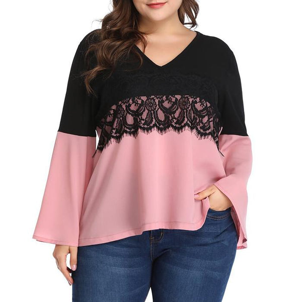 Plus Size Flare Sleeve Colorblock Splice Lace Blouse Tops