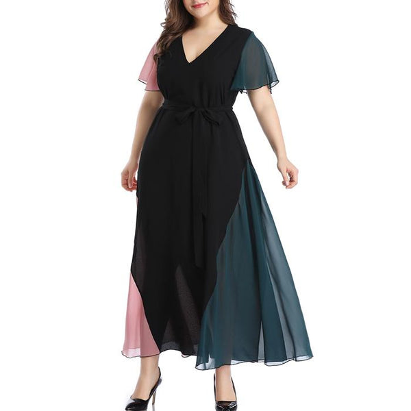 Plus Size V Neck Short Sleeve Colorblock Splice Long Maxi Dress