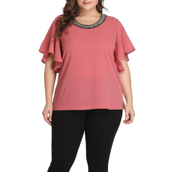 Plus Size Round Neck Ruffle Sleeve Splice T-Shirt Tops