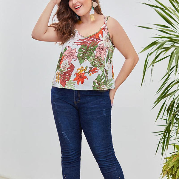 Plus-Size Sexy Sleeveless V-Neck Backless Print Vest