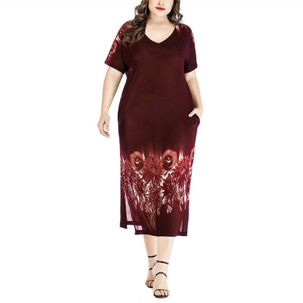 Plus-Size Sexy V-Neck Short Sleeve Printed Perspective Dress