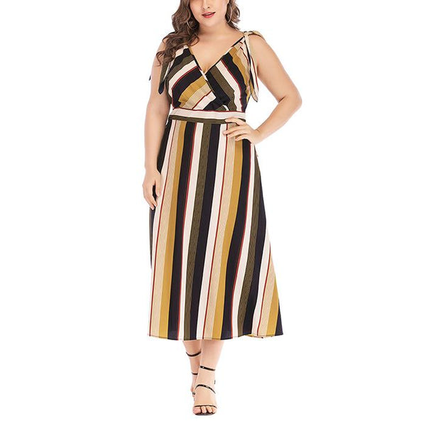 Plus-Size Sexy Stripe V-Neck Sling Sleeveless Dress