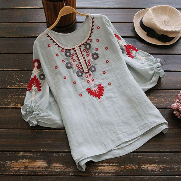 Female Art Embroidery Round Collar Lantern Short-Sleeve T-Shirt