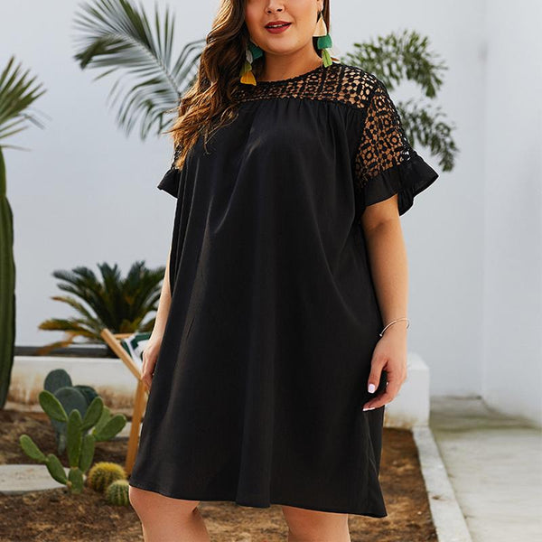 Plus-Size Lace Round Collar Short Sleeves Solid Color Dress