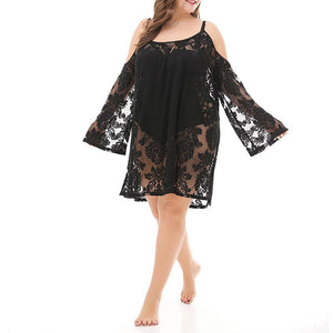 Woman Size Beach Sexy Lace Long-Sleeved Dress Blouse