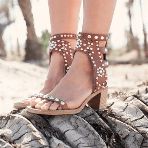 Fashion Vintage  Studded Chunky Sandals