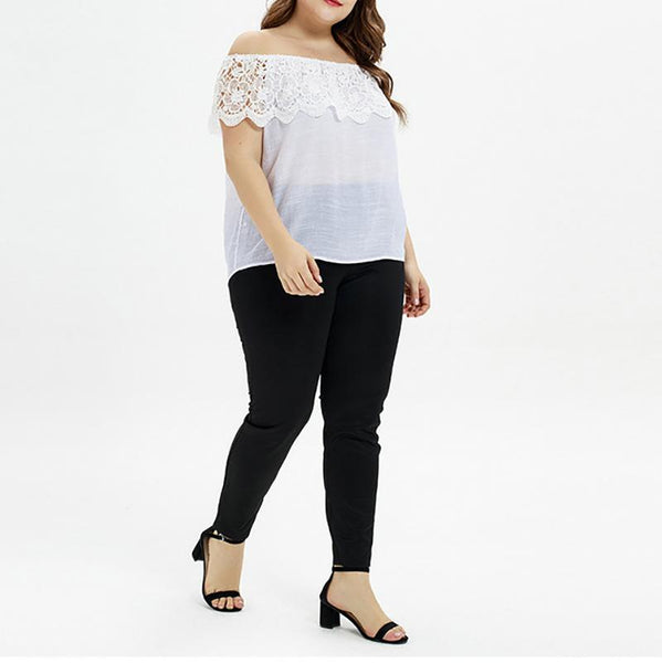 Female Code Fresh Sweet Pure Color Lace Splice Collared Top