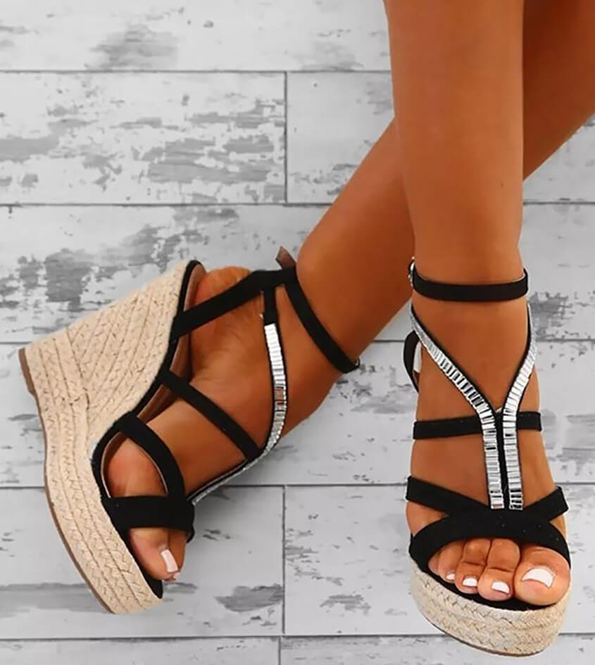 Fashion Cross   Strappy Wedge Sandals
