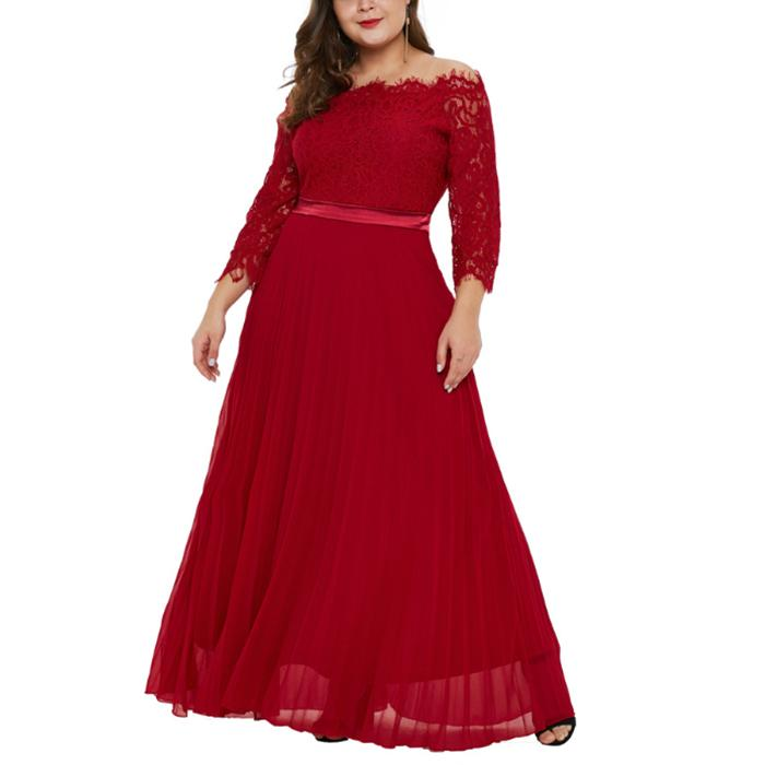 Plus-Size Sexy Off-The-Shoulder Pure Color Lace Dress
