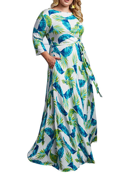 Plus Size Round Neck Printed Colour Dress