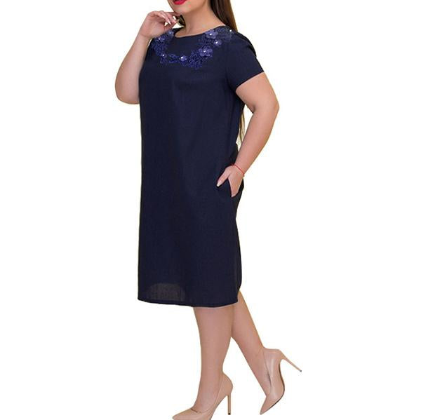 Plus Size Commuting  Round Neck Short Sleeve Pure Colour Dress