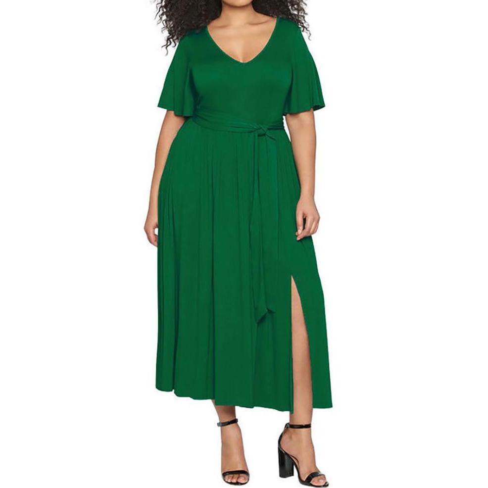 Plus Size Commuting Belted Slit Pure Color Dress