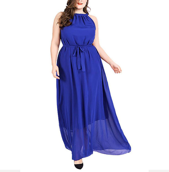 Plus Size Commuting Round Neck Sleeveless Solid Color Dress