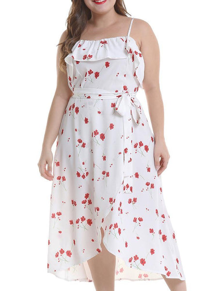 Plus Size Casual Ruffled Belted Sleeveless Printed Colour Dress