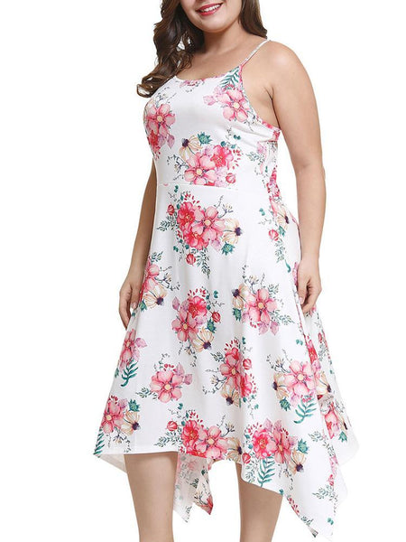 Plus Size Casual Irregular Sleeveless Printed Colour Dress