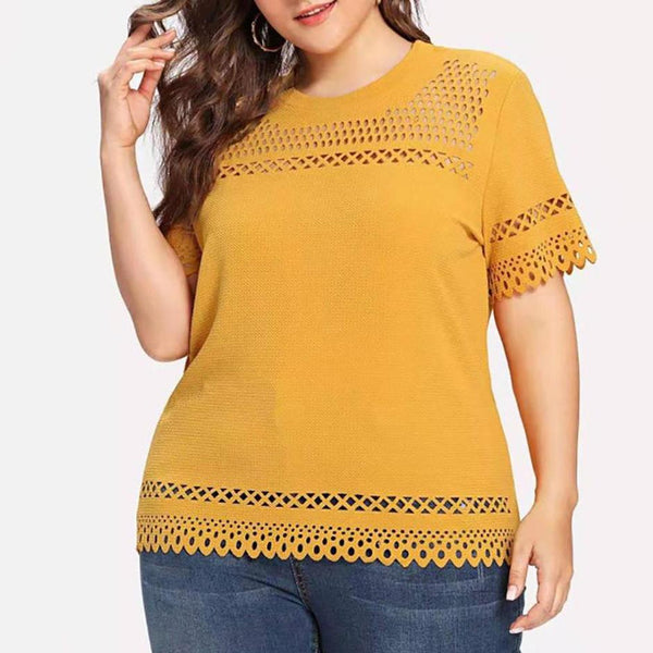 Plus Size Commuting Round Neck Short Sleeve Hollow Out T-Shirt