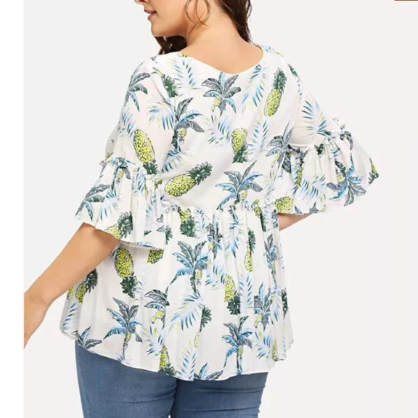 Plus Size Casual Round Neck Bell Sleeve Printed Colour Blouse
