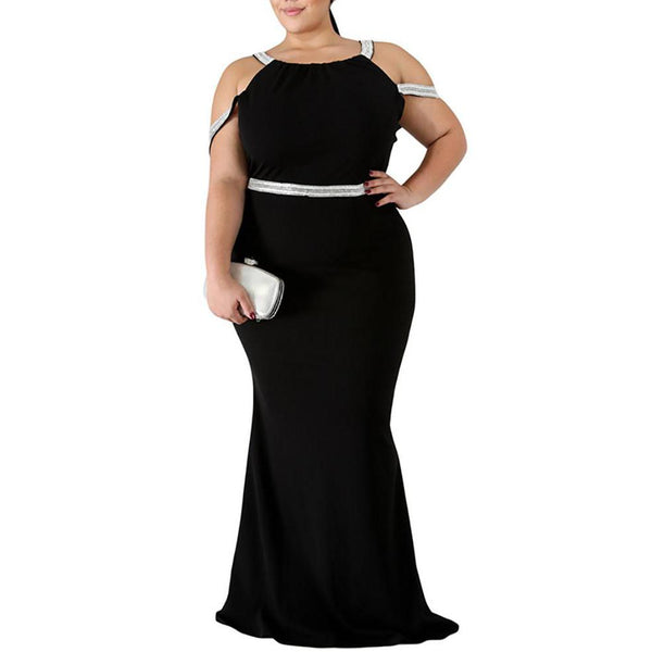 Plus Size Sexy Bare Back Hollow Out Solid Color Dress