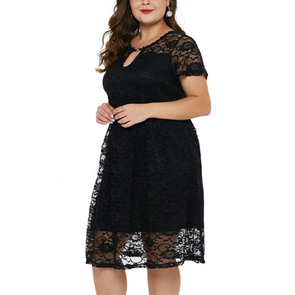 Plus-Size Sexy Solid Color V-Neck Lace Sleeveless Dress